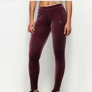 BNWOT Adidas Velvet burgundy Leggings